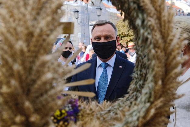 Prezydent Andrzej Duda podczas Dożynek Prezydenckich /Mateusz Marek /PAP
