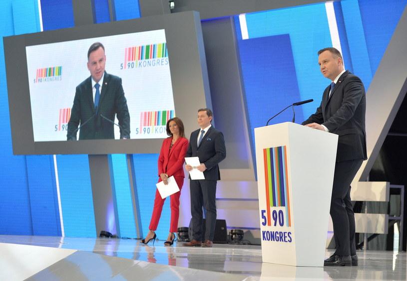 Prezydent Andrzej Duda podczas Kongresu 590 /Darek Delmanowicz /PAP