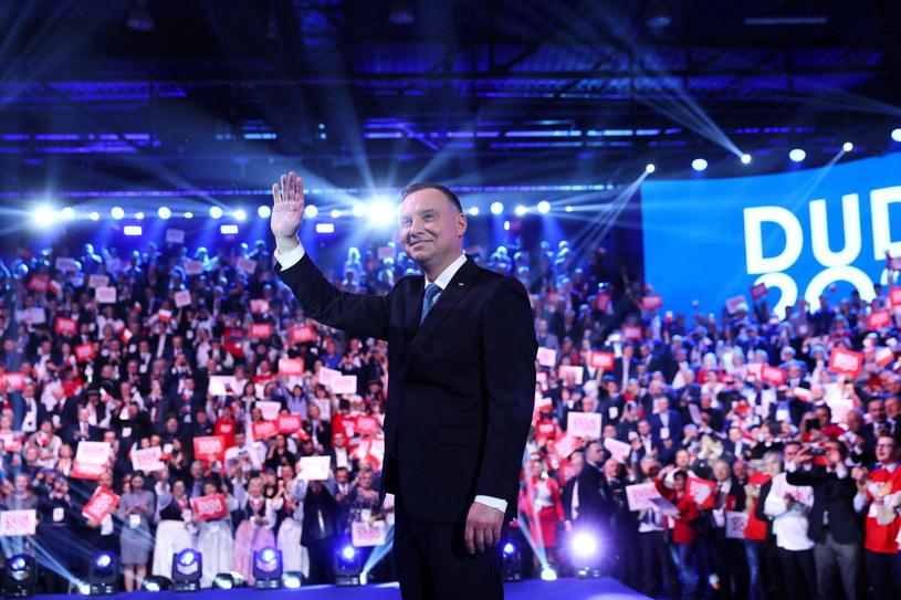 Prezydent Andrzej Duda podczas konwencji PiS, na której została zainaugurowana jego kampania wyborcza /Rafał Guz /PAP