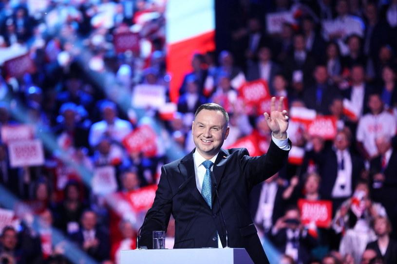 Prezydent Andrzej Duda podczas konwencji PiS /Rafał Guz /PAP