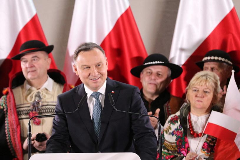 Prezydent Andrzej Duda podczas spotkania z mieszkańcami Rabki-Zdroju / Grzegorz Momot    /PAP