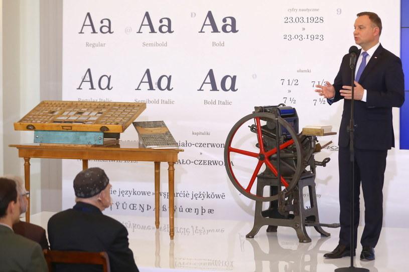 Prezydent Andrzej Duda podczas uroczystej prezentacji zdigitalizowanej czcionki Brygada 1918 /Rafał Guz   /PAP
