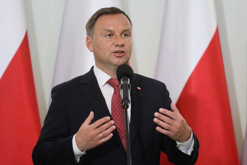 Prezydent Andrzej Duda podczas uroczystości w Pałacu Prezydenckim w Warszawie /Paweł Supernak /PAP