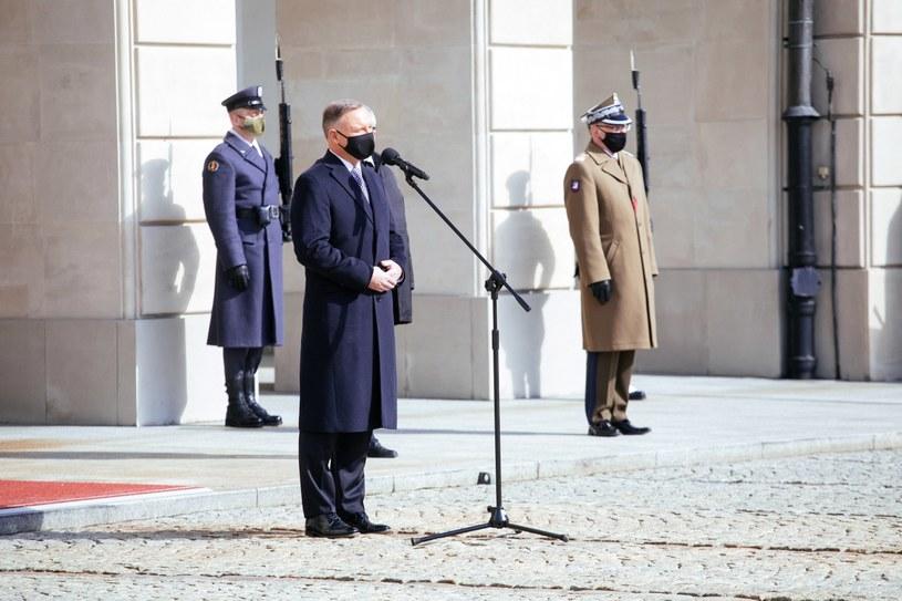 Prezydent Andrzej Duda podczas uroczystości z okazji Światowego Dnia Zdrowia /PAP/Albert Zawada /PAP