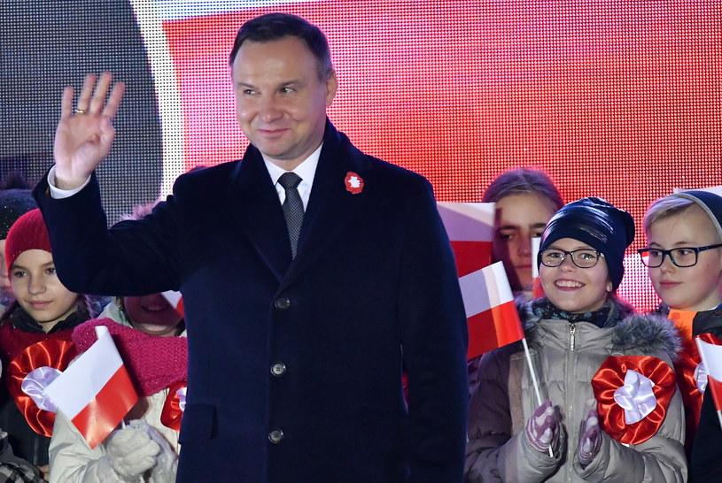 Prezydent Andrzej Duda podczas V Ogniska Patriotyzmu w Stalowej Woli /Piotr Polak /PAP