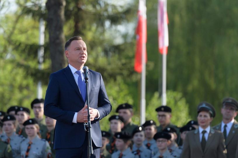 Prezydent Andrzej Duda podczas wizyty w Międzychodzie /Jakub Kaczmarczyk /PAP