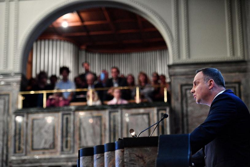 Prezydent Andrzej Duda podczas wykładu na Uniwersytecie w Zurychu /Jacek Turczyk /PAP