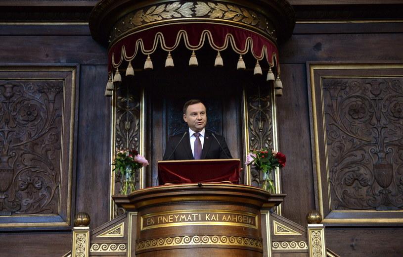 """Prezydent Andrzej Duda podczas wystąpienia """"Odliczanie przed Szczytem NATO w Warszawie: jaka jest przyszłość bezpieczeństwa europejskiego?"""" na Uniwersytecie Kopenhaskim /Jacek Turczyk /PAP"""