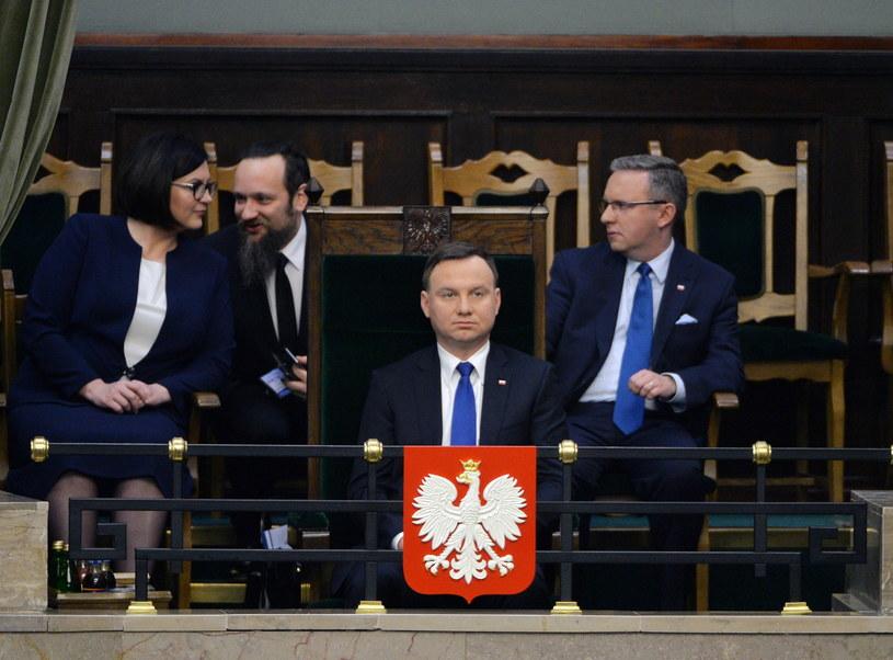 Prezydent Andrzej Duda podczas wystąpienia szefa MSZ w Sejmie /Marcin Obara /PAP