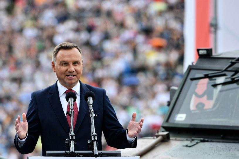 Prezydent Andrzej Duda podczas wystąpienia /Jacek Turczyk /PAP