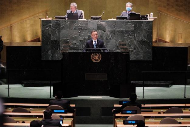 Prezydent Andrzej Duda podczas Zgromadzenia Ogólnego ONZ /SPENCER PLATT / POOL /PAP/EPA