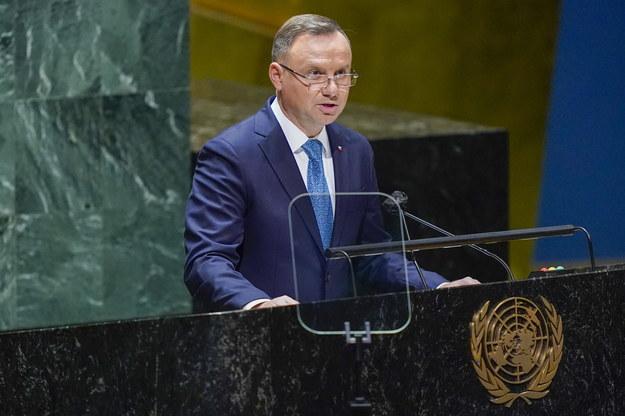 Prezydent Andrzej Duda przemawia na forum ONZ /MARY ALTAFFER / POOL /PAP/EPA