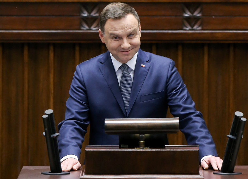 Prezydent Andrzej Duda przemawia podczas pierwszego posiedzenia Sejmu /Paweł Supernak /PAP