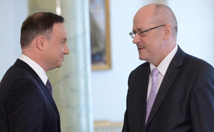 Prezydent Andrzej Duda przyjął ślubowanie od Zbigniewa Jędrzejewskiego /Jacek Turczyk /PAP