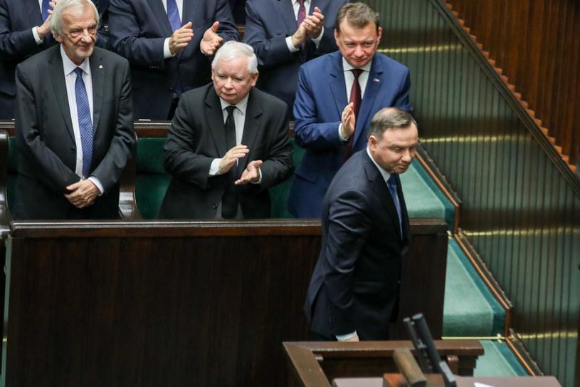Prezydent Andrzej Duda,  Ryszard Terlecki, Jarosław Kaczyński, Mariusz Błaszczak. /fot. Andrzej Iwanczuk /Reporter