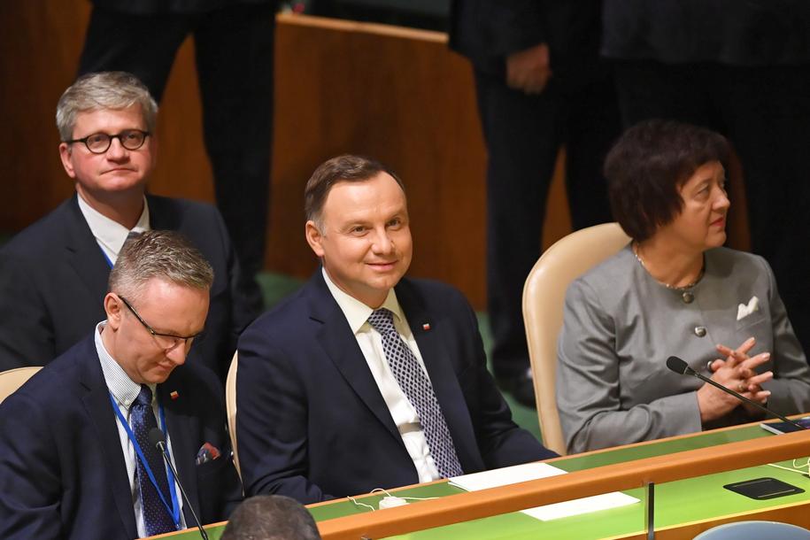 Prezydent Andrzej Duda, szef gabinetu Krzysztof Szczerski i szef BBN Paweł Soloch w Nowym Jorku /Radek Pietruszka /PAP