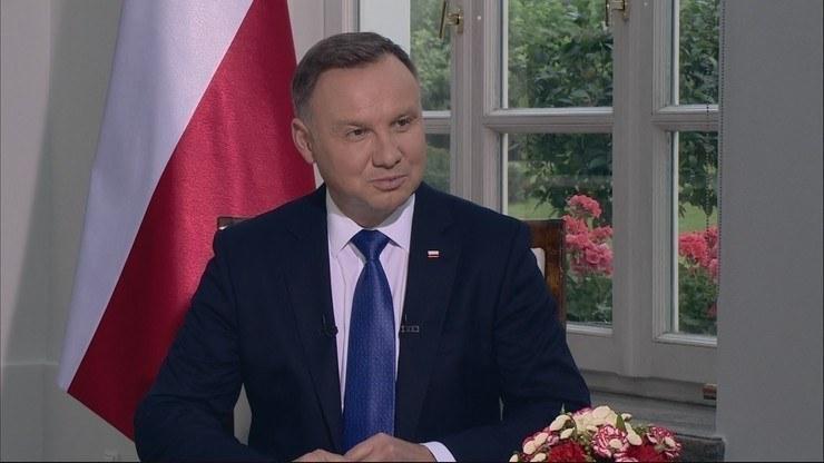 """Prezydent Andrzej Duda w programie """"Gość Wydarzeń"""" /Polsat News"""