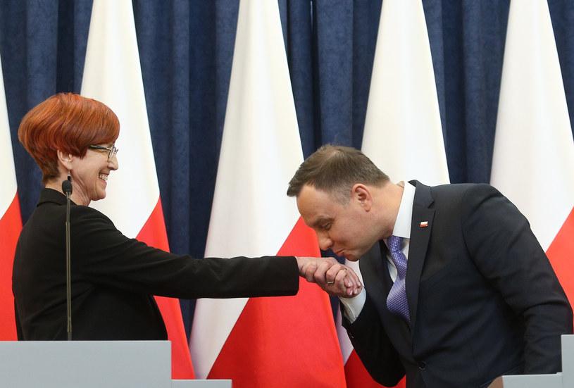 Prezydent Andrzej Duda w towarzystwie minister Rafalskiej /Fot. Michal Dyjuk /FORUM
