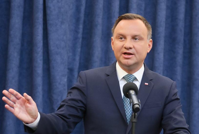 Prezydent Andrzej Duda wygłosił oświadczenie na temat reformy sądownictwa /Paweł Supernak /PAP