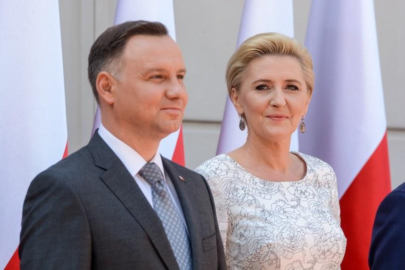 Prezydent Andrzej Duda z małżonką Agatą Kornhauser-Dudą /Mariusz Gaczyński /East News