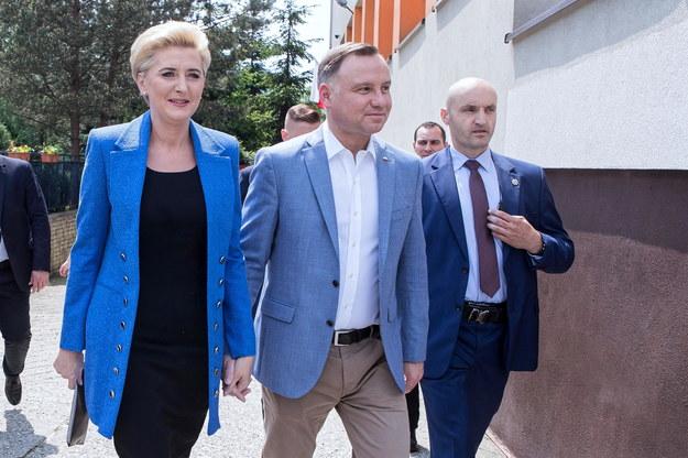 Prezydent Andrzej Duda z małżonką Agatą Kornhauser-Dudą //Łukasz Gągulski /PAP
