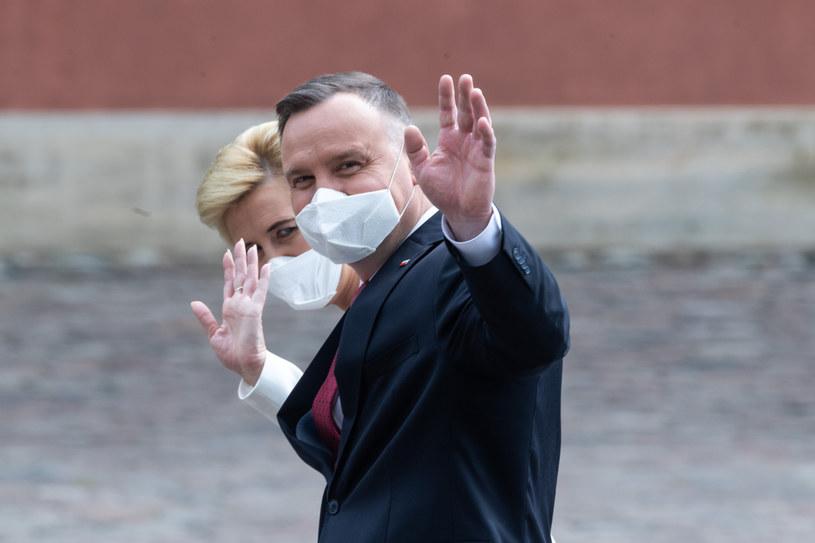Prezydent Andrzej Duda z małżonką /Jacek Domiński /Reporter