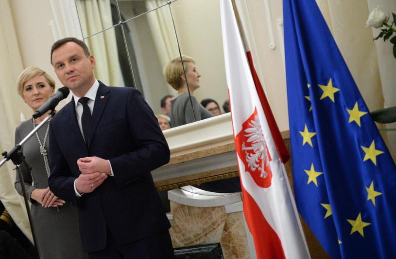 Prezydent Andrzej Duda z towarzyszącą mu żoną Agatą Kornhauser-Dudą /Jacek Turczyk /PAP/EPA