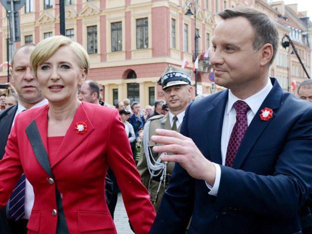Prezydent Andrzej Duda z żoną Agatą Kornhauser-Dudą /PAP