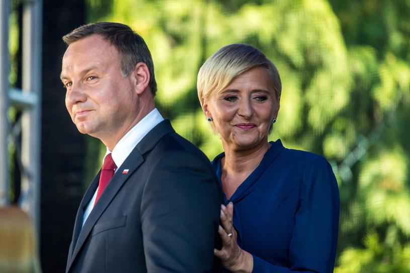 Prezydent Andrzej Duda z żoną Agatą Kornhauser-Dudą /Tytus Żmijewski /PAP
