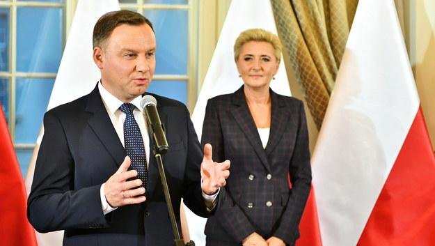 Prezydent Andrzej Duda z żoną Agatą Kornhauser-Dudą / Maciej Kulczyński    /PAP