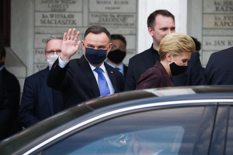 Prezydent Andrzej Duda z żoną Agatą Kornhauser-Dudą /Beata Zawrzel /Reporter
