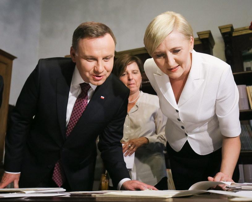 Prezydent Andrzej Duda z żoną /Paweł Supernak /PAP