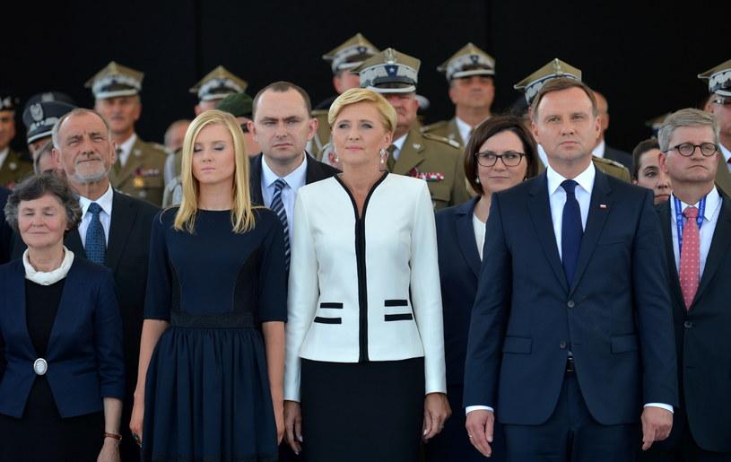 Prezydent Andrzej Duda, żona Agata Kornhauser-Duda, córka Kinga Duda i rodzice - Jan Tadeusz Duda i Janina Milewska-Duda /Marcin Obara /PAP