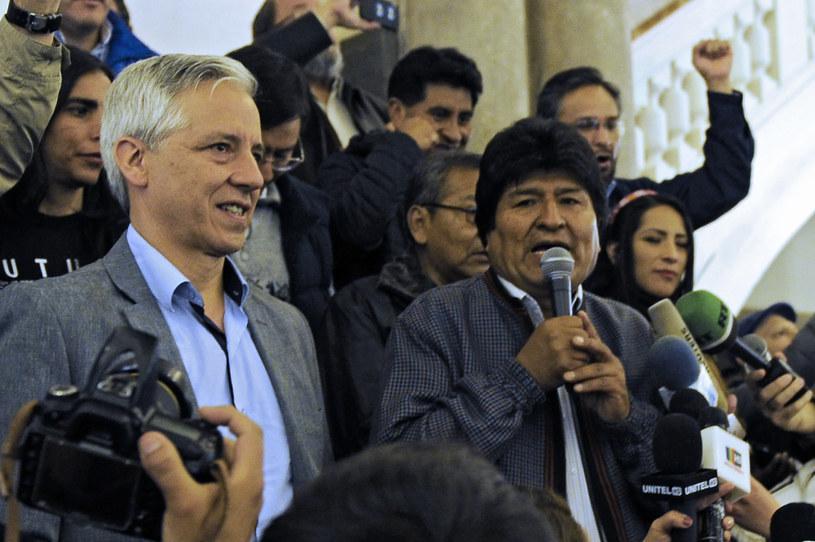 Prezydent Boliwii Evo Morales (z prawej) i wiceprezydent Alvaro Garcia Linera /AFP
