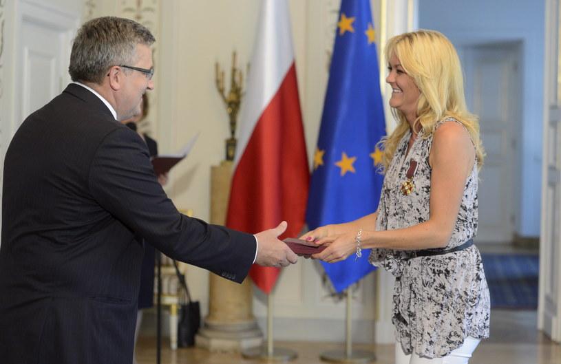 Prezydent Bronisław Komorowski i Agnieszka Radwańska /Bartłomiej Zborowski /PAP