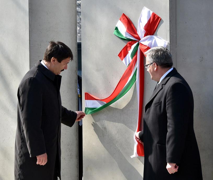 Prezydent Bronisław Komorowski oraz prezydent Węgier Janos Ader /Jacek Bednarczyk /PAP