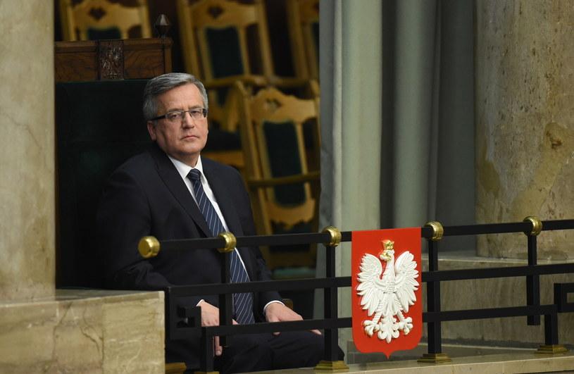 Prezydent Bronisław Komorowski w Sejmie /Radek Piertruszka /PAP