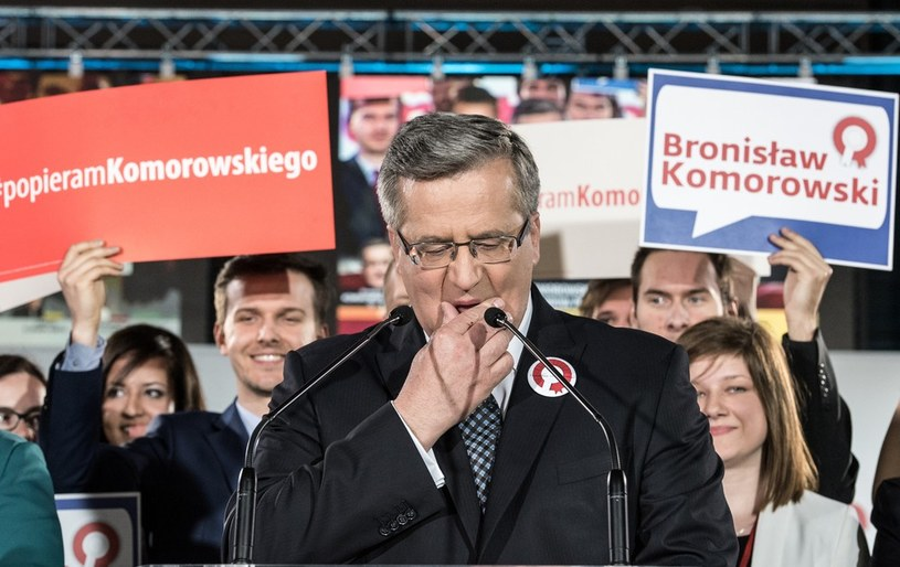 Prezydent Bronisław Komorowski w wieczór wyborczy /Jacek Domiński /Reporter