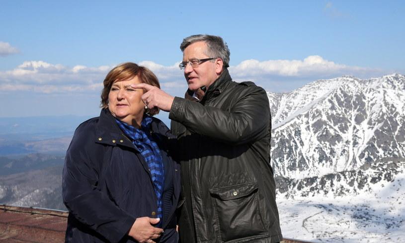 Prezydent Bronisław Komorowski z żoną na Kasprowym Wierchu /Grzegorz Momot /PAP