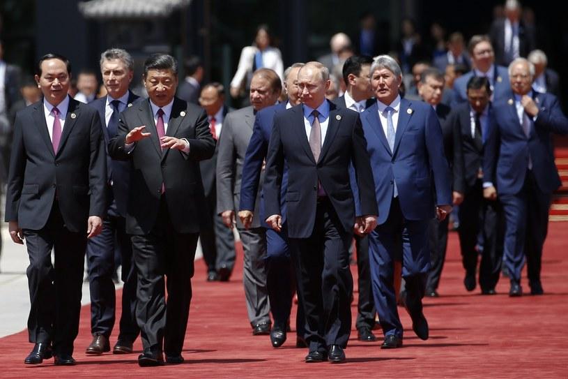 Prezydent Chin Xi Jinping i pozostali przywódcy podczas Forum Pasa i Szlaku /PAP/EPA
