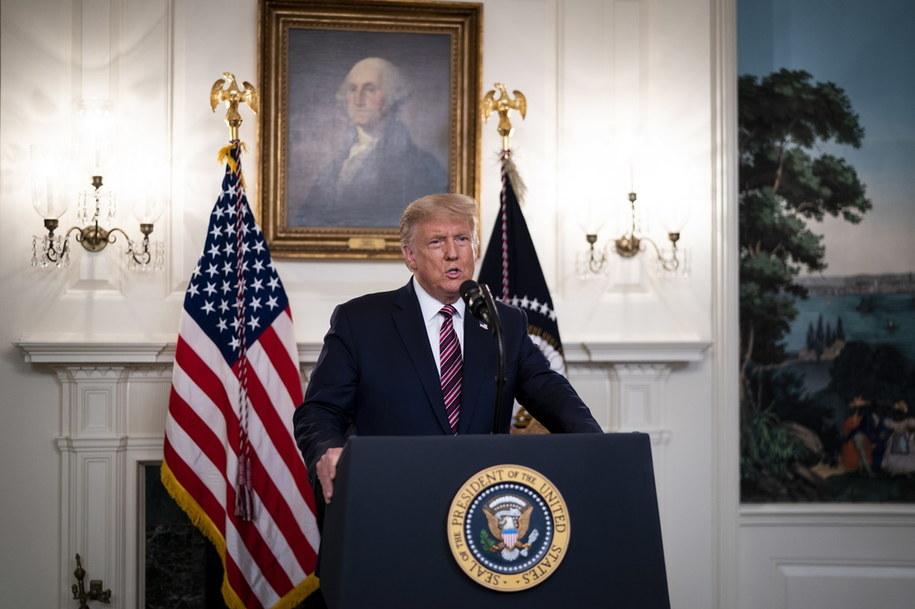 Prezydent Donald Trump podczas konferencji prasowej /Doug Mills / POOL /PAP/EPA