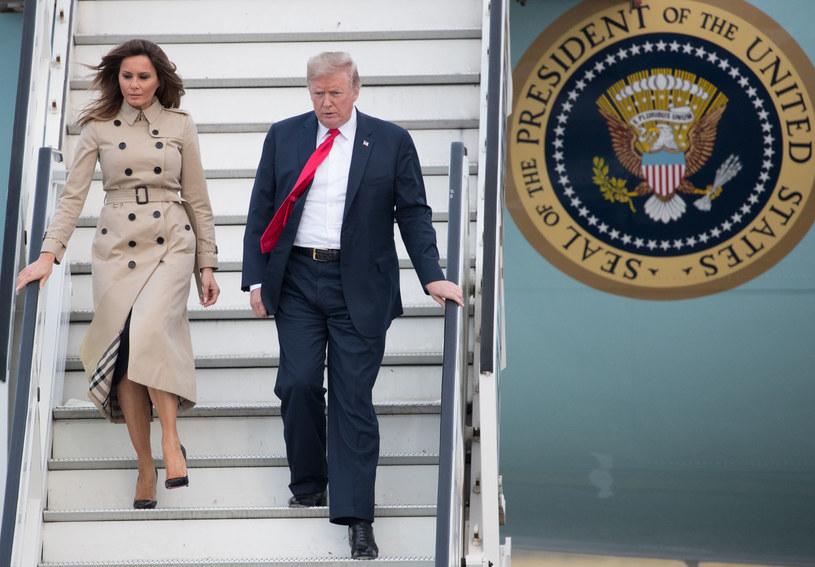 Prezydent Donald Trump z małżonką Melanie wylądowali w Brukseli /BENOIT DOPPAGNE / BELGA /AFP