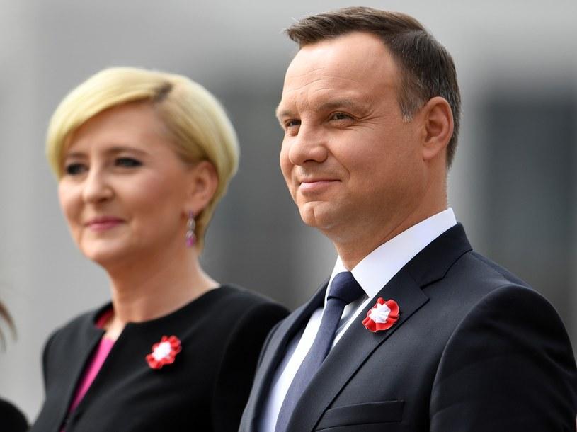 Prezydent Duda z żoną Agatą /Andrzej Gillert /Reporter