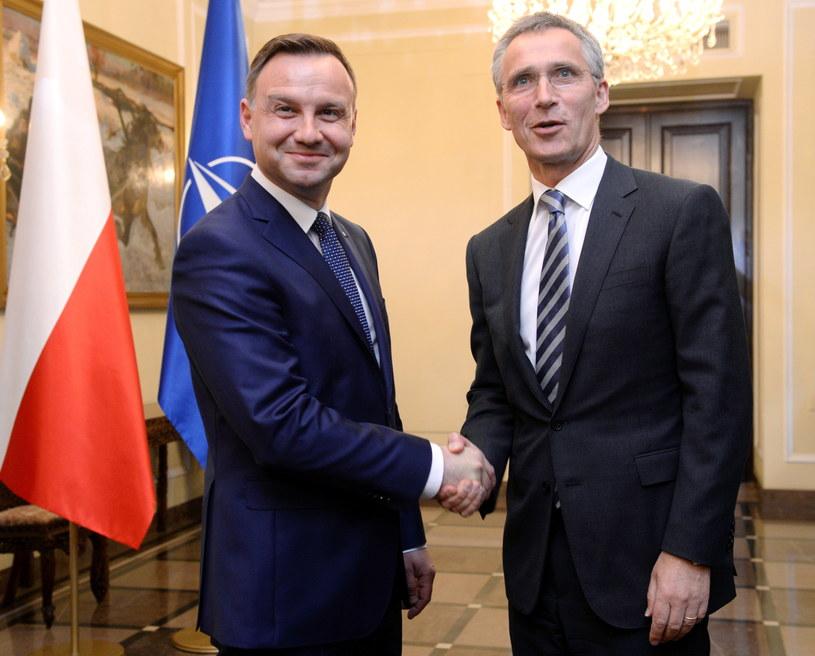 Prezydent elekt Andrzej Duda i sekretarz generalny NATO Jens Stoltenberg /Jacek Turczyk /PAP
