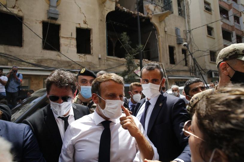 Prezydent Francji Emmanuel Macron w Bejrucie. /Thibault Camus / POOL /PAP/EPA