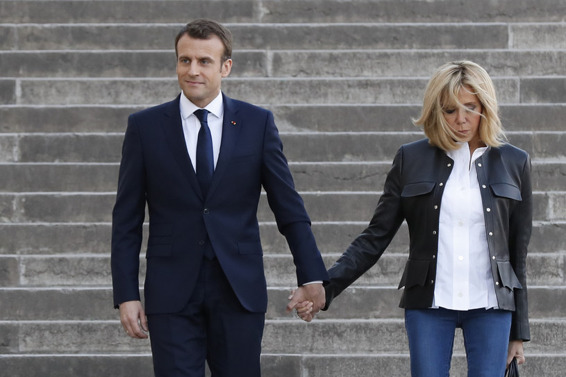 Prezydent Francji Emmanuel Macron z żoną Brigitte Macron /AFP