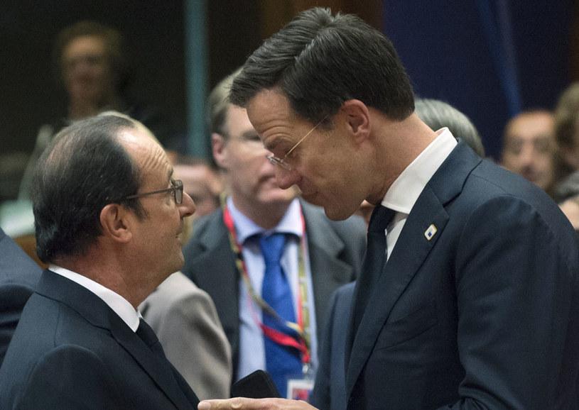 Prezydent Francji Francois Hollande i premier Holandii Mark Rutte /JOHN THYS /AFP