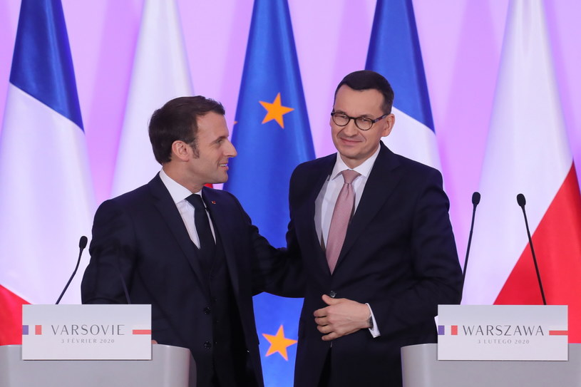 Prezydent Francji i premier Polski na wspólnej konferencji /Paweł Supernak /PAP