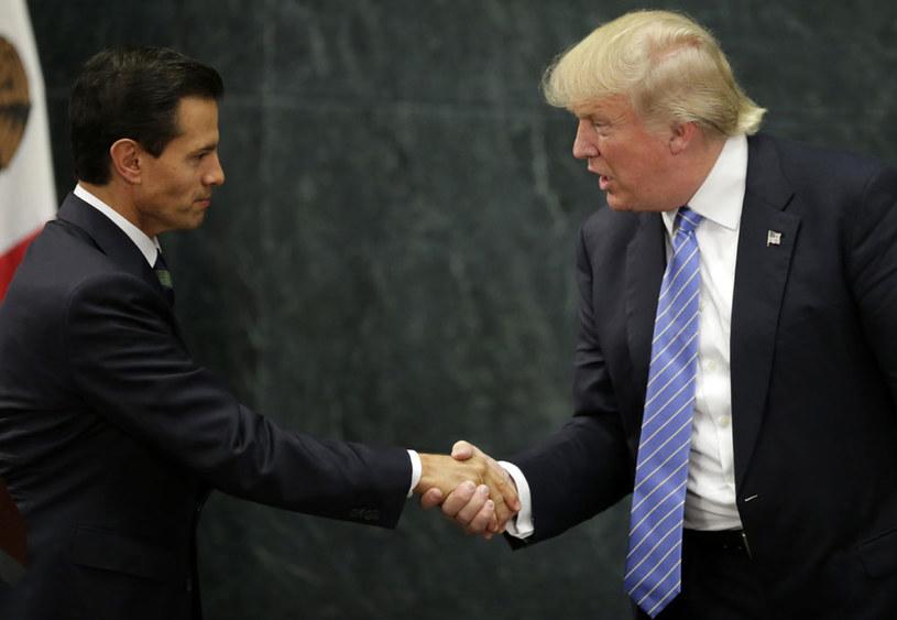 Prezydent Meksyku Enrique Pena Nieto i Donald Trump podczas wcześniejszego spotkania /AFP