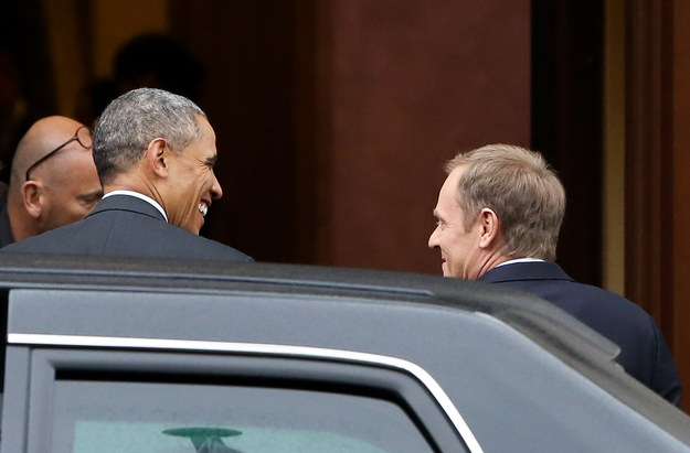 Prezydent Obama i premier Donald Tusk przed KPRM /Paweł Supernak /PAP